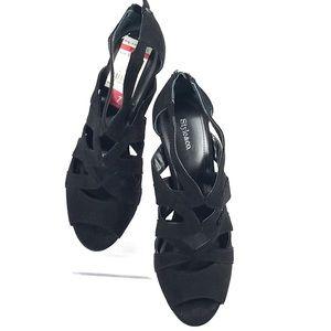 STYLE & CO velvet pump zip back heel peep toe 7M